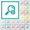 Search in compressed files flat color icons with quadrant frames - Search in compressed files flat color icons with quadrant frames on white background