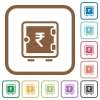 Indian Rupee strong box simple icons - Indian Rupee strong box simple icons in color rounded square frames on white background