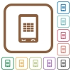 Mobile spreadsheet simple icons - Mobile spreadsheet simple icons in color rounded square frames on white background