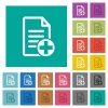 Add new document square flat multi colored icons - Add new document multi colored flat icons on plain square backgrounds. Included white and darker icon variations for hover or active effects.
