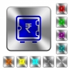 Indian Rupee strong box rounded square steel buttons - Indian Rupee strong box engraved icons on rounded square glossy steel buttons