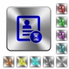 Contact processing rounded square steel buttons - Contact processing engraved icons on rounded square glossy steel buttons