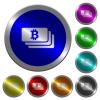 Bitcoin banknotes luminous coin-like round color buttons - Bitcoin banknotes icons on round luminous coin-like color steel buttons