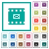 Send movie as email flat color icons with quadrant frames - Send movie as email flat color icons with quadrant frames on white background