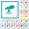 Space telescope flat color icons with quadrant frames - Space telescope flat color icons with quadrant frames on white background