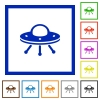 UFO flat framed icons - UFO flat color icons in square frames on white background
