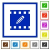 Edit movie flat framed icons - Edit movie flat color icons in square frames on white background