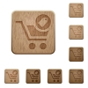 Product purchase features wooden buttons - Product purchase features on rounded square carved wooden button styles