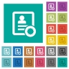 Certified contact square flat multi colored icons - Certified contact multi colored flat icons on plain square backgrounds. Included white and darker icon variations for hover or active effects.