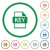Private key file of SSL certification flat icons with outlines - Private key file of SSL certification flat color icons in round outlines on white background