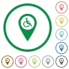 Disability accessibility GPS map location flat icons with outlines - Disability accessibility GPS map location flat color icons in round outlines on white background