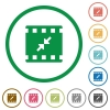 Movie resize small flat icons with outlines - Movie resize small flat color icons in round outlines on white background