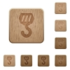Construction hook wooden buttons - Construction hook on rounded square carved wooden button styles