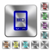 Mobile processing rounded square steel buttons - Mobile processing engraved icons on rounded square glossy steel buttons