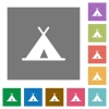 Tent square flat icons - Tent flat icons on simple color square backgrounds