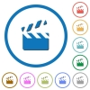 Clapperboard icons with shadows and outlines - Clapperboard flat color vector icons with shadows in round outlines on white background