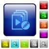 Edit playlist icons in rounded square color glossy button set - Edit playlist color square buttons