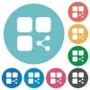 Share component flat round icons - Share component flat white icons on round color backgrounds