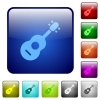 Acoustic guitar color square buttons - Acoustic guitar icons in rounded square color glossy button set