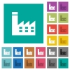 Factory building square flat multi colored icons - Factory building multi colored flat icons on plain square backgrounds. Included white and darker icon variations for hover or active effects.