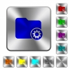 Directory settings rounded square steel buttons - Directory settings engraved icons on rounded square glossy steel buttons