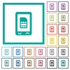 Mobile sim card flat color icons with quadrant frames - Mobile sim card flat color icons with quadrant frames on white background