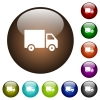 Delivery truck color glass buttons - Delivery truck white icons on round color glass buttons
