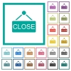 Close sign flat color icons with quadrant frames - Close sign flat color icons with quadrant frames on white background
