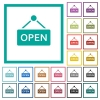 Open sign flat color icons with quadrant frames - Open sign flat color icons with quadrant frames on white background