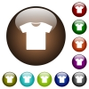 T-shirt color glass buttons - T-shirt white icons on round color glass buttons
