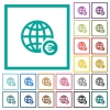 Online Euro payment flat color icons with quadrant frames - Online Euro payment flat color icons with quadrant frames on white background
