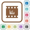 Movie sounds simple icons - Movie sounds simple icons in color rounded square frames on white background