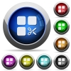 Cut component round glossy buttons - Cut component icons in round glossy buttons with steel frames