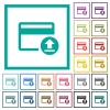 Credit card money deposit flat color icons with quadrant frames - Credit card money deposit flat color icons with quadrant frames on white background
