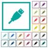 USB plug flat color icons with quadrant frames - USB plug flat color icons with quadrant frames on white background