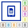 Mobile sim card flat framed icons - Mobile sim card flat color icons in square frames on white background