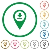 Download GPS map location flat icons with outlines - Download GPS map location flat color icons in round outlines on white background
