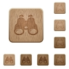 Binoculars wooden buttons - Binoculars on rounded square carved wooden button styles