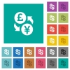 Pound Yen money exchange square flat multi colored icons - Pound Yen money exchange multi colored flat icons on plain square backgrounds. Included white and darker icon variations for hover or active effects.