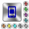 Mobile media stop rounded square steel buttons - Mobile media stop engraved icons on rounded square glossy steel buttons