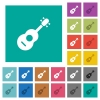 Acoustic guitar square flat multi colored icons - Acoustic guitar multi colored flat icons on plain square backgrounds. Included white and darker icon variations for hover or active effects.