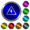 Danger electrical hazard luminous coin-like round color buttons - Danger electrical hazard icons on round luminous coin-like color steel buttons