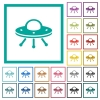 UFO flat color icons with quadrant frames - UFO flat color icons with quadrant frames on white background