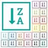 Alphabetically descending ordered list flat color icons with quadrant frames - Alphabetically descending ordered list flat color icons with quadrant frames on white background