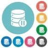 Database macro pause flat round icons - Database macro pause flat white icons on round color backgrounds