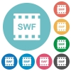 SWF movie format flat round icons - SWF movie format flat white icons on round color backgrounds