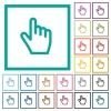 Hand cursor flat color icons with quadrant frames - Hand cursor flat color icons with quadrant frames on white background