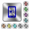 Mobile reading aloud rounded square steel buttons - Mobile reading aloud engraved icons on rounded square glossy steel buttons