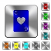 Six of hearts card rounded square steel buttons - Six of hearts card engraved icons on rounded square glossy steel buttons