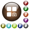 Camera plugin color glass buttons - Camera plugin white icons on round color glass buttons